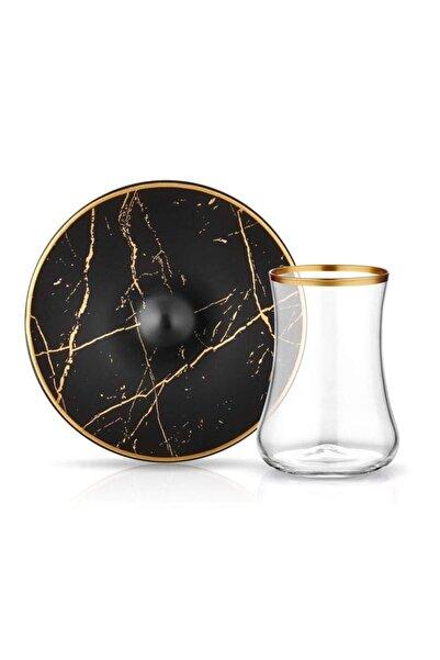 Koleksiyon1 Dervish Mermer Siyah Mat Altın 6'lı Çay Seti
