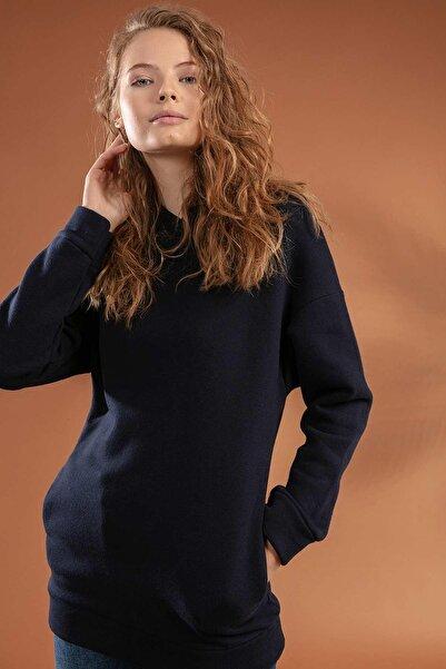 Y-London Kadın Kapşonu Kulaklı Gizli Cepli Şardonlu Sweatshirt 10382