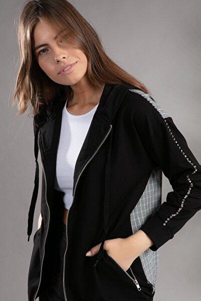 Y-London Kadın Kol Detayı Taş İşlemeli Fermuarlu Kapşonlu Hırka 39802