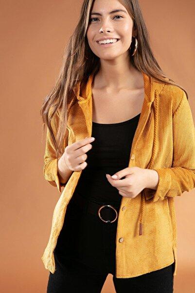 Y-London Kadın Kapşonlu Fitilli Kadife Gömlek 30661