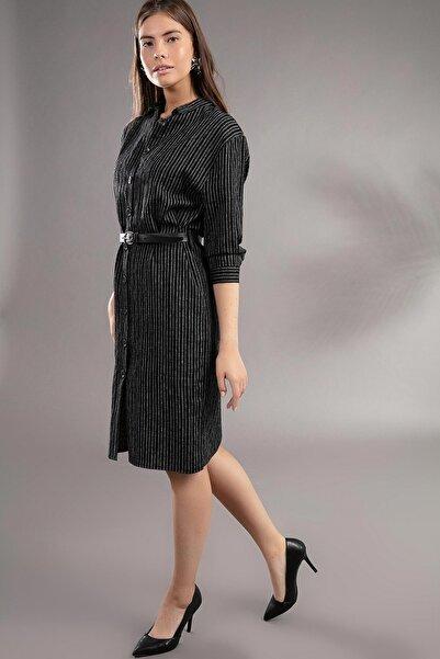 Y-London Kadın Çizgili Midi Boy Simli Gömlek Elbise U30738