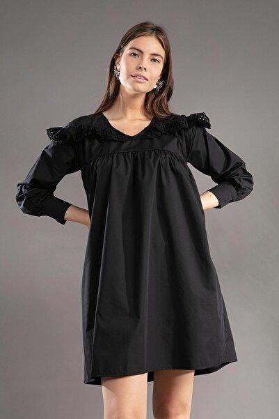 Y-London Kadın Fisto Detaylı Robalı Uzun Kollu Siyah Elbise Y19W109-38612-1
