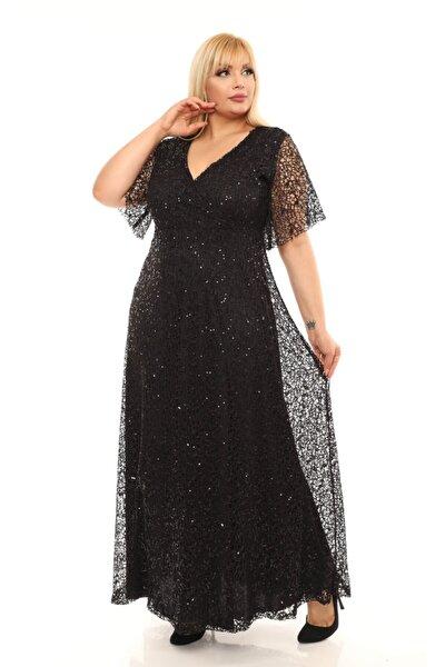 VOLİNAY TEKSTİL Kadın Siyah Payetli Abiye Elbise