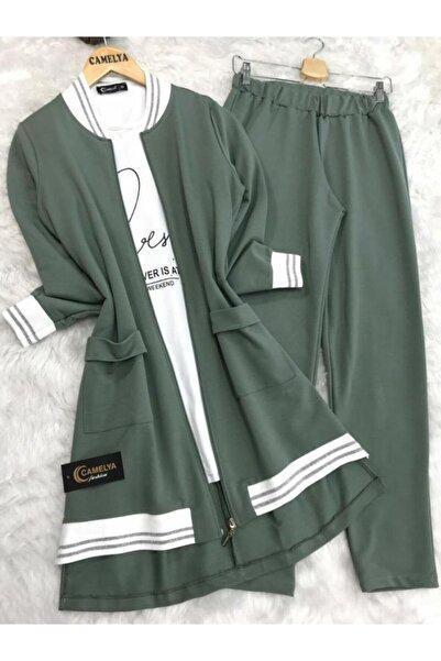 Camelya Fashion Kadın Yeşil Eşofman Takımı 3'l��
