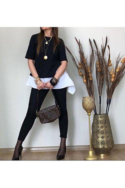 Yakamoz Kadın Siyah İki Renkli T-shirt