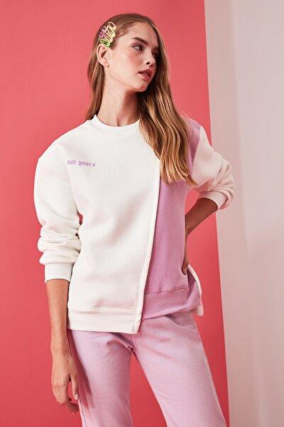 TRENDYOLMİLLA Beyaz Ön ve Sırt Baskılı Basic Örme Şardonlu Sweatshirt TWOAW21SW0150