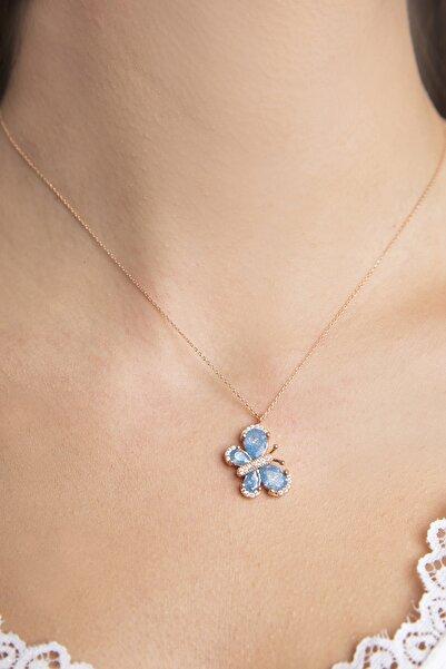 Elika Silver Kelebek Model Mavi Taşlı Rose Kaplama 925 Ayar Gümüş Kolye