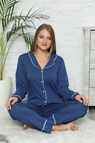 modalove Kadın Mavi Düğmeli Uzun Kol Pamuklu Likralı Pijama Takımı