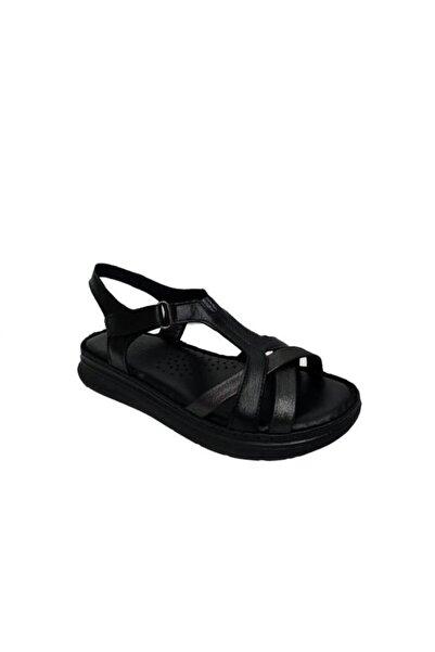 Nehir Üçel 121 Kadın Siyah Hakiki Deri Ortopedik Sandalet