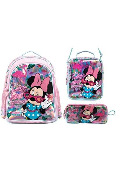 Frocx Minnie Mouse Lüks  Sırt Çantası, Beslenme Çantası Ve Kalemlik Ilkokul Çanta Seti