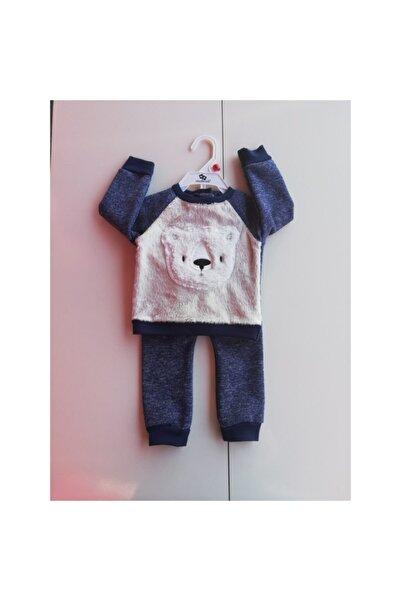 Wonder Kıds Erkek Bebek Lacivert Ayı İşlemeli Peluş Takım