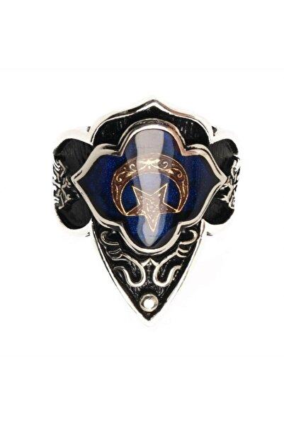 OSMANLI GÜMÜŞ Gümüş Erkek Zihgir Başparmak Yüzük Mavi Ayyıldız Model