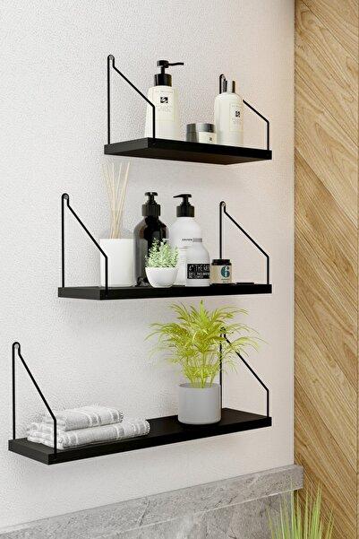 Roomie Home Duvar Rafı 3'lü Set Kitaplık Mutfak Banyo Yaşam Alanı Siyah Su Terazisi Hediyeli