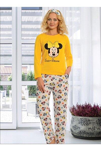 Ars Kadın Sarı Mickey Mouse Baskılı Pijama Takımı
