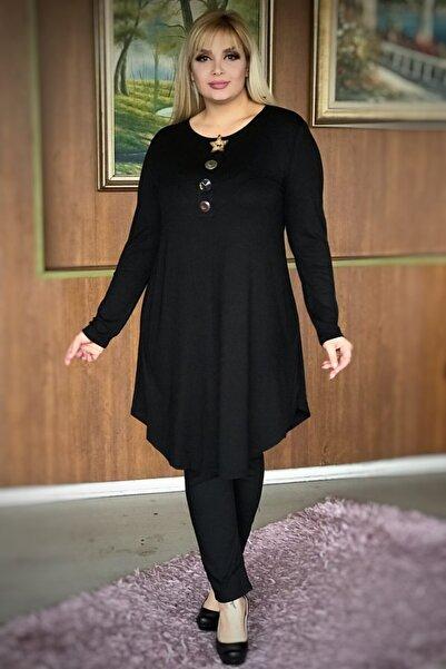 LİKRA Kadın Siyah Büyük Beden Yakası Düğme Detay Kiloş Kesim Lı Viskon Tunik
