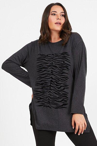 Siyezen Kadın Gri Zebra Desenli Yumoş Bluz
