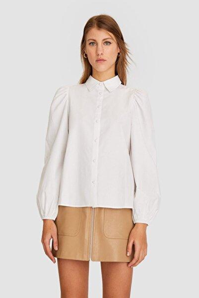Stradivarius Kadın Beyaz Balon Kollu Poplin Gömlek 02045780