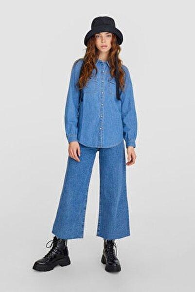 Kadın Koyu Mavi Denim Gömlek 02005476