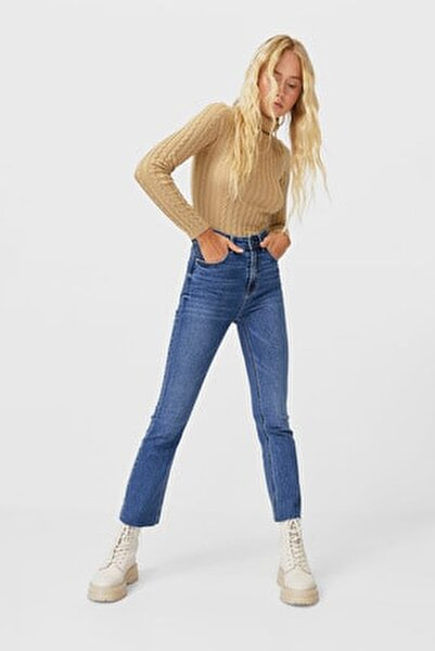 Kadın Açık Mavi İspanyol Paça Crop Jean 08478214