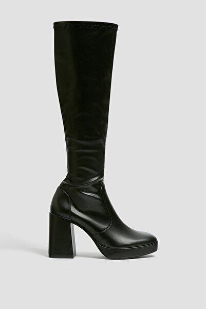 Pull & Bear Kadın Siyah Streç Diz Altı Çizme 11042640