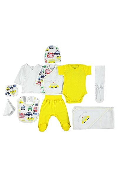 Minidamla Erkek Bebek Sarı Araba Desenli 10'lu Set 11876