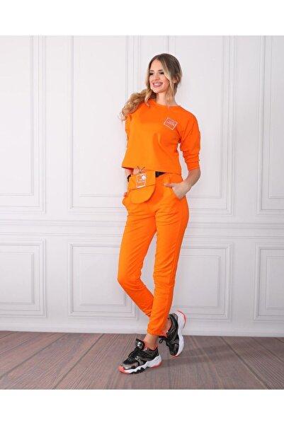 TREND Kadın Turuncu Renk Rengi Örme Alt Üst Eşofman Takımı Bel Çanta