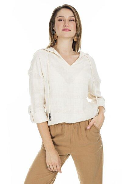 Lela Kadın Bej Kapüşonlu Bluz  23420y22330