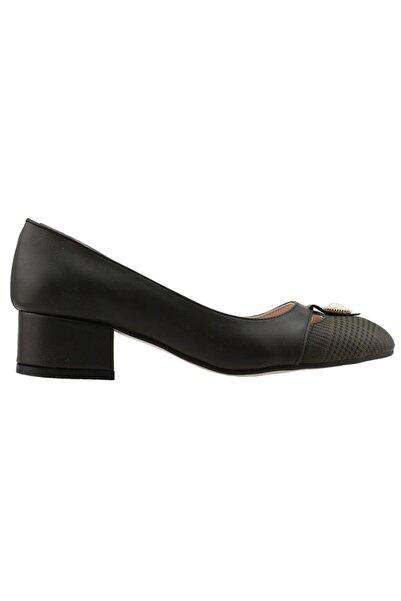 Ayakland Kadın Yeşil 5 cm Topuk Ekose Cilt Ayakkabı 575-1136