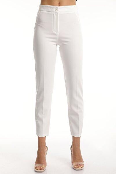 MD trend Kadın Ekru Cepli Yüksek Bel Likralı Pantolon