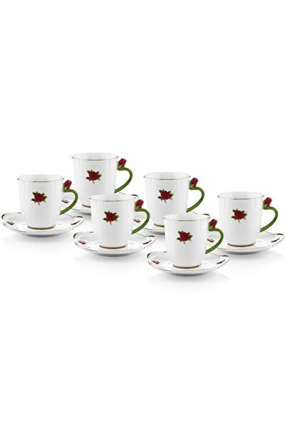 Porio Kırmızı Güllü Çay Fincan