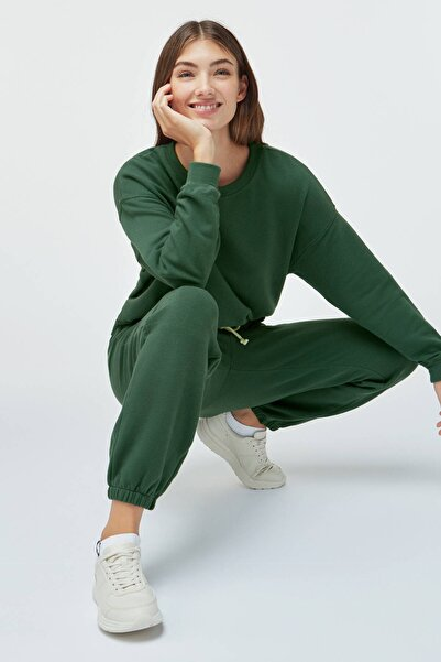 Oysho Kadın Yeşil Pamuklu Jogger Pantolon