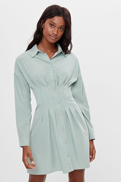Bershka Kadın Turkuaz Pileli Gömlek Elbise