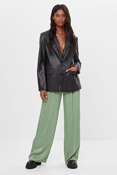 Bershka Kadın Yeşil Saten Pantolon