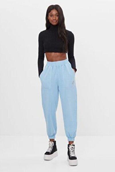 Kadın Mavi Reflektör Jogging Fit Pantolon