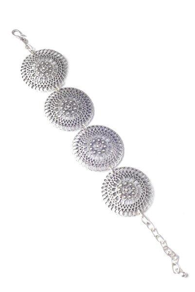 Kadın Antik Gümüş Kaplama Zincir Bileklik
