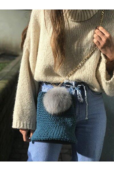 MEV'S Atelier Kadın Special Edition Petrol Mavi Zincirli Örgü Sepet Omuz Çantası 7732425