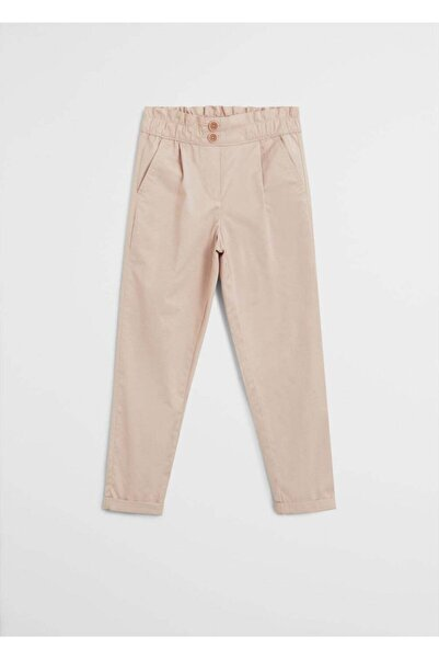 MANGO Kids Kız Çocuk Pembe Düz Kesimli Fiyonklu Pantolon