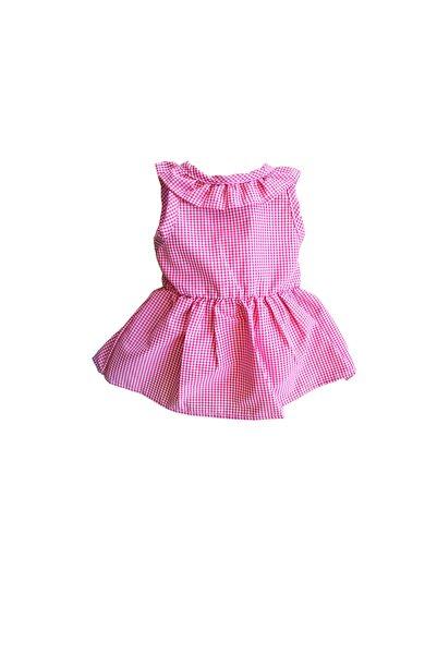 BELLA KİDS Kız Çocuk Fuşya Sırt Detaylı Ekoseli Elbise