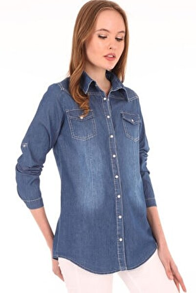 Kadın Mavi Çift Cepli Çıtçıtlı Kot Gömlek 3411