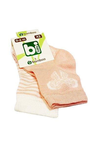 Bibaby Bambu Bebek Çorabı 2 Li 0-6 Ay - Beyaz Kelebek - Pembe