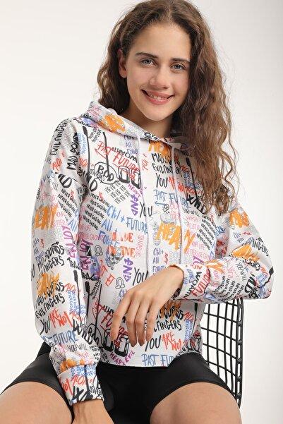 MD trend Kadın Grafik Desenli Kapüşonlu Crop Spor Sweatshirt/turuncu/m