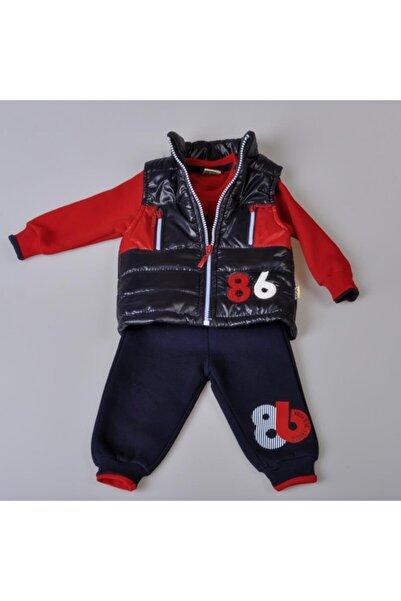 POKY BEBE Yeni Sezon Erkek Bebek 86 Baskılı 3 Ip Kumaş Şişme Yelekli 3'lü Takım-9218