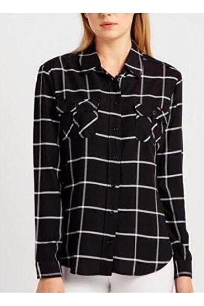 STAMINA Kadın Siyah Kareli Çift Cepli Gömlek