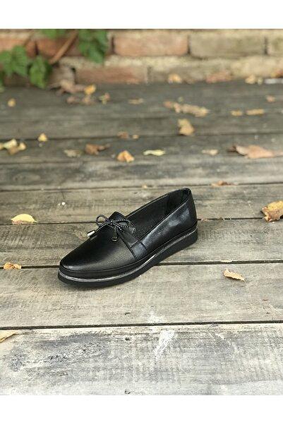 İmaj Kadın Siyah Günlük Hakiki Deri Ayakkabı