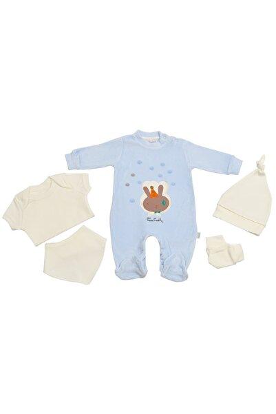 Pierre Cardin Baby Pierre Cardin Yenidoğan Tavşanlı Kadife Tulumlu Bebek Seti Mavi
