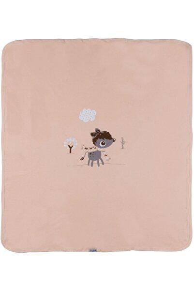 """Aziz Bebe Kız Bebek Somon """"Ceylan"""" Baskılı Çift Katlı Penye Battaniye 11414"""