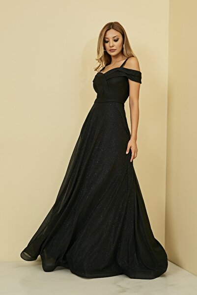 Sateen Kadın Siyah Kol Detay Simli Uzun Abiye Elbise