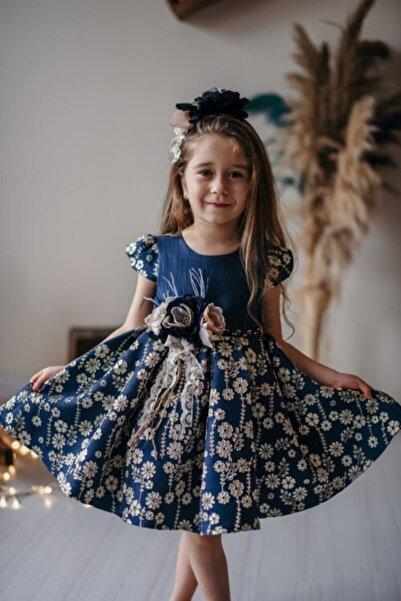 Tülipano Bianco Kız Çocuk Çiçek Desenli Lacivert Şık Elbise