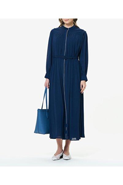 Aker Kadın Lacivert Biyeli Elbise