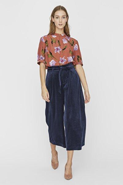 Vero Moda Kadın Lacivert Kadife Culotte Pantolon 10233085 Vmlondyn